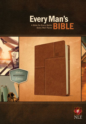NLT Every Man's Bible-Deluxe Messenger Edition Burnt Khaki Indexed