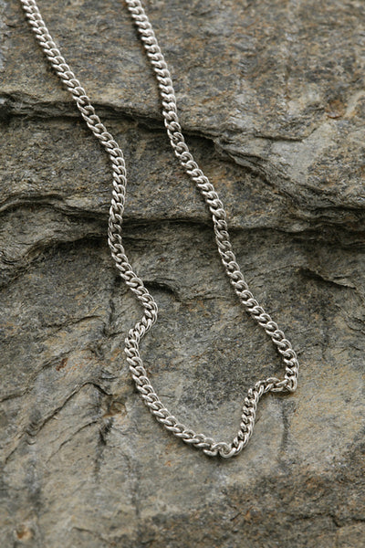 Sterling Silver Solid Curb Link Flat Chain - 2mm