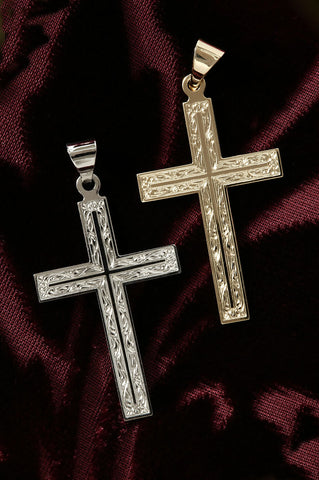 14K Gold Filigree Cross Pendant-Yellow or White Gold