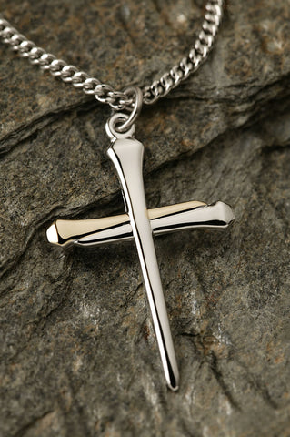 Sterling Silver Two Tone Nail Cross Necklace