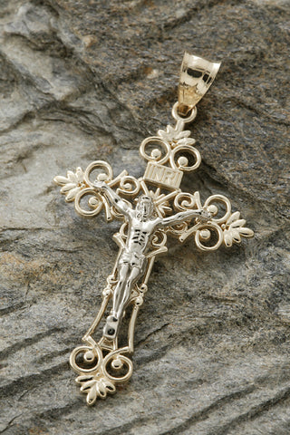 14K Two Tone Crucifix Pendant
