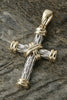 Sterling Silver and 14K Gold Two Tone Rugged Cross Pendant-XL