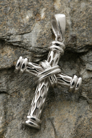 14K White Gold Two Tone Rugged Cross Pendant-XL