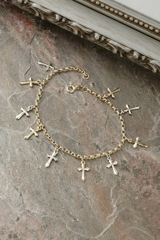 14K Two Tone Ten Crosses Charm Bracelet