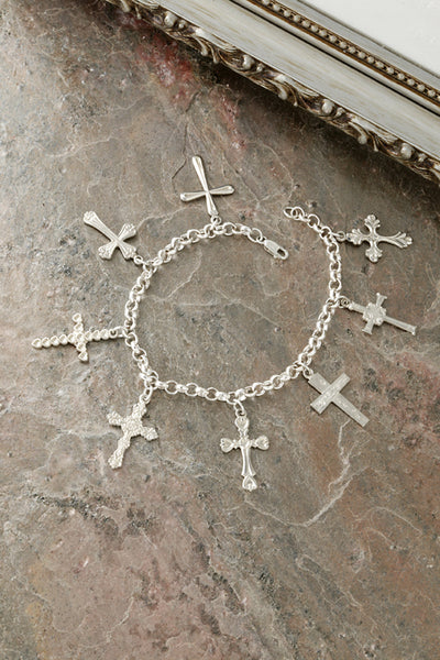 Sterling Silver Crosses Charm Bracelet