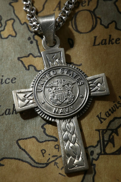 Sterling Silver Navy Cross Pendant