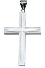 Large Hollow Back Sterling Silver Cross 51 mm or 57 mm