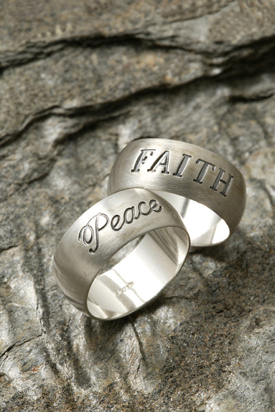 Sterling Silver Ring Peace or Faith