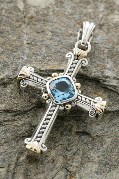 14K Yellow Gold & Sterling Silver Blue Topaz Cross Pendant