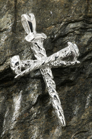 Sterling Silver Nail Design Cross Pendant