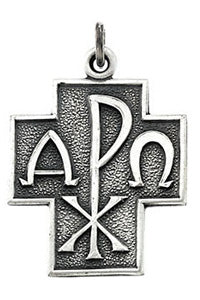 "Sterling Silver 24.5x22 mm Alpha Omega Cross 24"" Necklace"