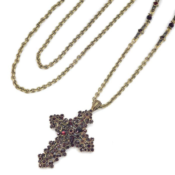 Garnet Lace Crystal Cross Pendant