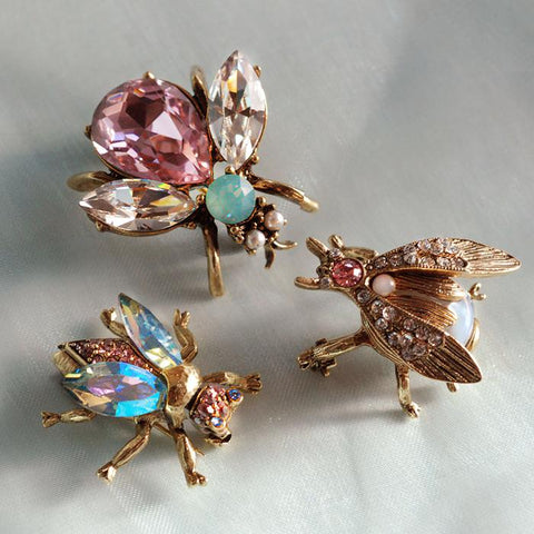 Set of 3 Vintage Bee Pins Opal Pastels