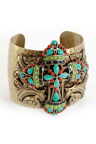 Turquoise Jeweled Crystal  Cross Cuff Bracelet