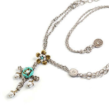 Turquoise Enamel Roses and Pearl Cross Necklace