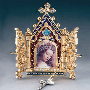 Gates of Heaven Necklace and Devotional Reliquary 14K Gold Plated
