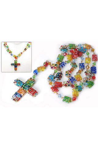 Candy Glass Square Rosary Cross Pendant