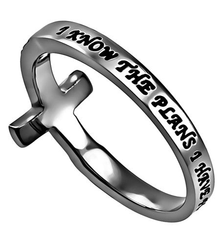 Sideways Cross Ring I Know the Plans Jeremiah 29:11