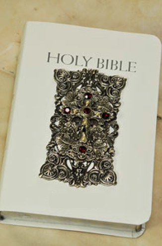 NAB Catholic White Leather Holy Bible with Ruby Crystals