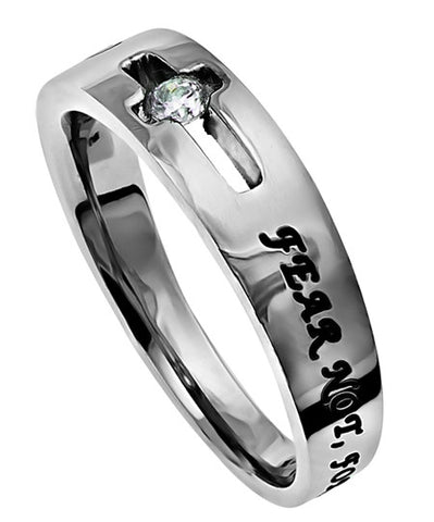 CZ Solitaire Scripture Band-Fear Not