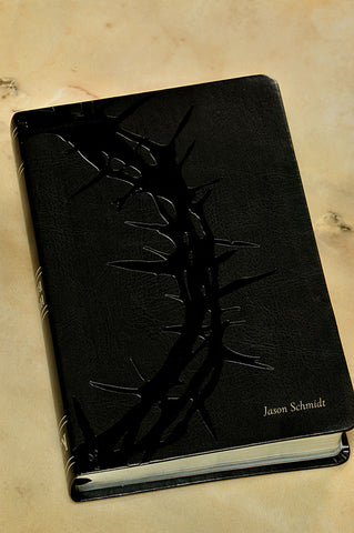 NKJV Crown of Thorns Study Bible--soft leather-look, charcoal - Limited Quantities Available