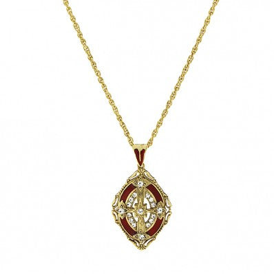 Cross Locket-14K Gold-Dipped Crystal with Red Enamel Necklace