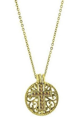 November Birthstone Cross Pendant Necklace