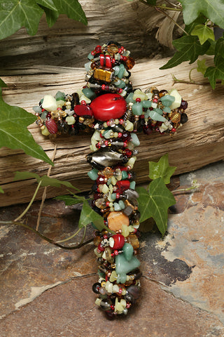 "Coral & Jade Gemstone Wall Cross 7"" , 9"" or 12"""