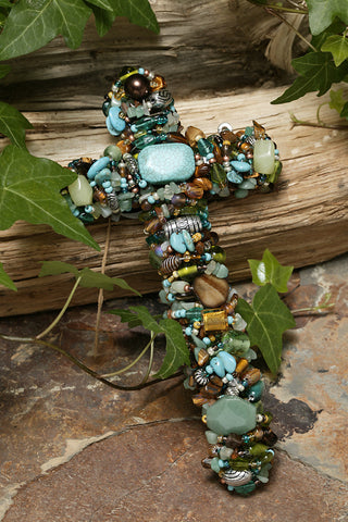 "Turquoise & Tiger's Eye Gemstone Wall Cross 7"", 9"" or 12"""