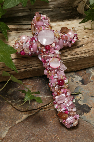 "Pink Quartz & Mother of Pearl Gemstone Wall Cross 7"", 9"" or 12"""