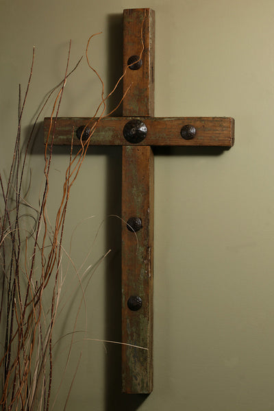 4 ft Rustic Clavo Old Door Cross
