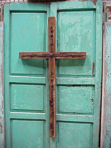 Rustic Barbed Wire Old Door Cross- 48""