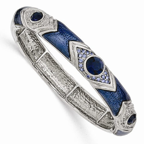 Silver-tone Dark & Light Blue Crystal & Glass Enamel Stretch Bracelet