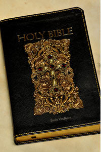 NAB Catholic Holy Bible Black  Leather with Ruby Crystal
