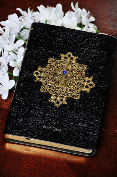 Cobalt Blue Center Jeweled Compact Reference Bible - KJV Black