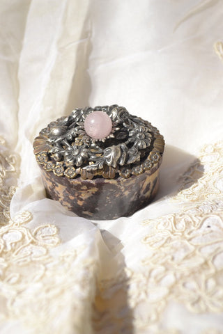 Oval Soapstone Box with Opalescent Pink Center