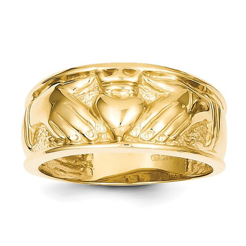 14k Polished Men's Claddagh Band