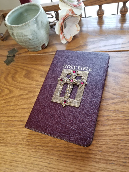 KJV Swarovski® Red Crystal Jeweled Leather Bible Compact Burgundy
