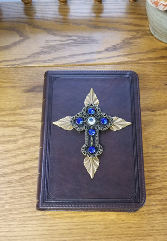 KJV Brown with Blue with Leaves Jeweled Compact Bible (pictured on left)