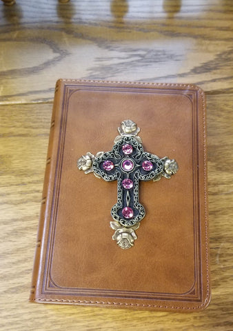 KJV Tan with Pink with Roses Jeweled Compact Bible  (pictured on right)