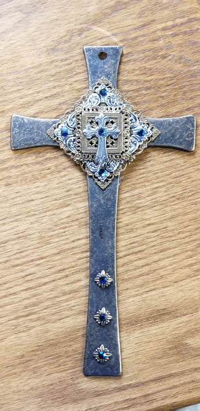 Baby Keepsake Brass Cross Blue