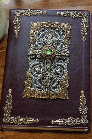 Peridot Crystals Decorated Cross Bible ESV Mahogany