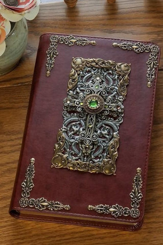 Peridot Crystals Decorated Cross Bible ESV Chestnut