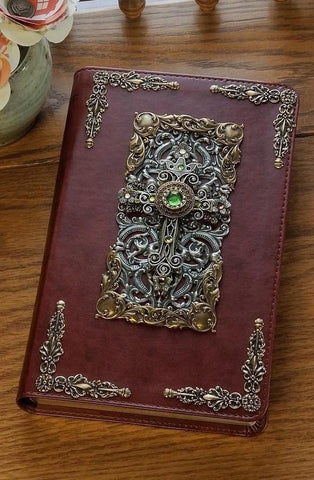 Peridot Crystals Decorated Cross Bible NKJV Brown