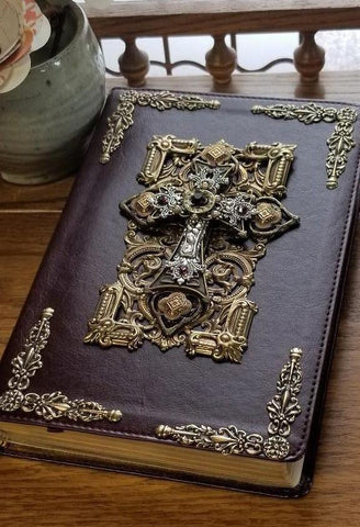 Jeweled Leather Bible with Amethyst Crystals NKJV Brown
