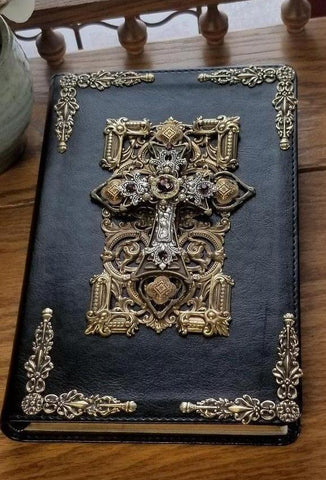 Jeweled Leather Bible with Amethyst Crystals NKJV Black