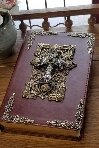 Jeweled Leather Bible with Amethyst Crystals ESV Chestnut