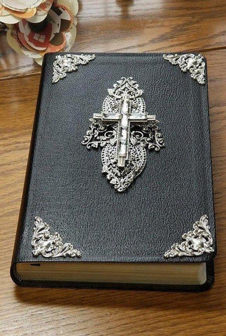 Baguette Crystal Cross with Silver Cross Jeweled Bible NIV Black