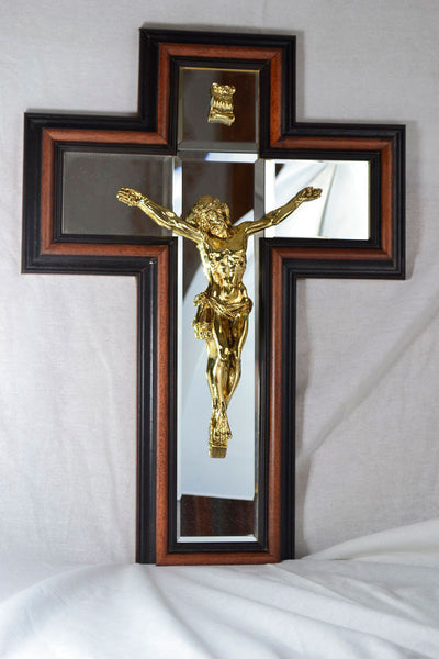 ON SALE Framed Mirror Crucifix Gold-DC
