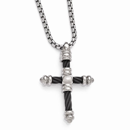 Edward Mirell Titanium Cable Cross Pendant Necklace